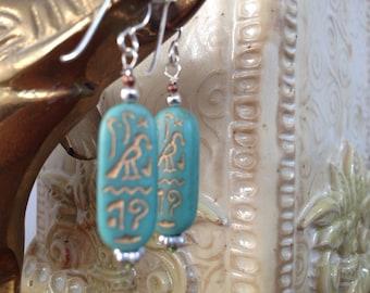 Egyptian Hieroglyphics Art Glass Sterling Silver Earrings Turquoise Aqua Blue with Gold- lorelei Novak jewelry