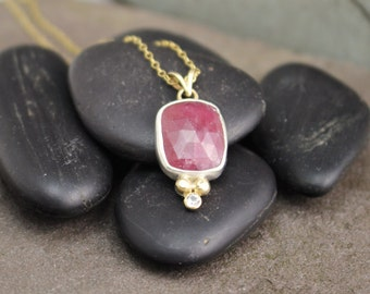 Ruby, White Sapphire, 14k Yellow Gold & Sterling Silver Necklace