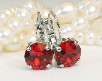 Red Crystal Earrings Deep Red Swarovski Earrings Red Christmas Earrings Red Silver Earrings Red Drop Crystal Earring,Silver,Light Siam,SE2
