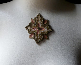 GOLD & Olive Beaded Applique Exquisite No 5 for Pendants, Handbags, Costumes, Jewelry, Home Decor.