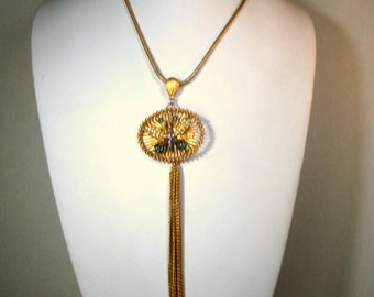 Rhinestone Butterfly TASSEL Necklace, Fringed Pendant on Gold Snake Chain, OOAK Rachelle Starr, Ecochic Recycled