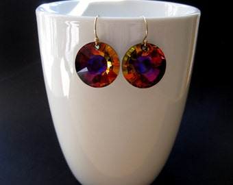 Modern Crystal Earrings - Crystal Earrings  -  Crystal Sunflower Earrings - Sunflower Earrings