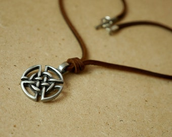 Celtic Pendant with Brown Leather Necklace Toggle Clasp