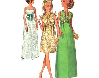 1960s Vintage Sewing Pattern Bolero & Evening Dress Simplicity 8191 Bust 38 Empire Maxi Dress Raised Waist Jacket Womens Pattern
