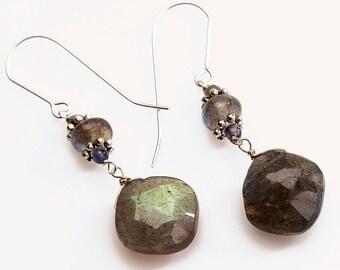 Labradorite Earrings Dangling on Sterling Silver Ear Wire