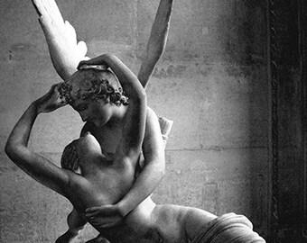 Paris Eros Psyche Print, Paris Black and White Photography, Paris Photography, Paris In Love Print, Eros and Psyche Louvre Angel Sculpture