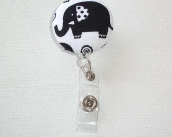 Retractable ID Badge Holder Reel  - Fabric Button - big black elephant
