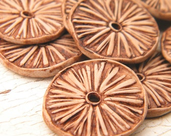 Sandy Tan - Rustic Aster Wheel carved tribal boho chic wildflower disc beads - set of 2 beads (ready to ship)