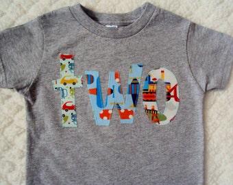 Boys Birthday Shirt- Transportation Birthday -One Year Old Birthday Shirt, Two Year Old shirt- Transportation shirt- Three Birthday Shirt