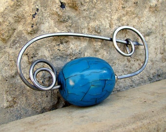 Azura Artisan Stainless Steel Resin Scarf Shawl Kilt Pin Brooch
