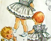 UNCUT * 1950s McCalls Pattern 2267  // CUTEST Toddlers Girls'  Dress with Built-in Apron and Bloomer Panties & Transfers * Size 4