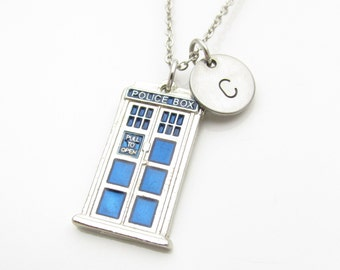 Police Box Necklace, Police Call Box Pendant, Blue Police Box Charm Necklace, Stainless Steel Chain Y003