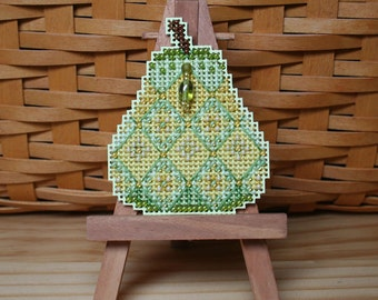 Jeweled Pear Cross Stitched and Beaded Ornament, Pin, or Magnet - Free U.S. Shipping