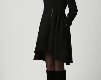 Winter Coats,Coats,Black Wool Coat,Woman Coat,Wool Coat,Black Wool Coat,Midi Coat,Made to Order,Gift for Women (1121)