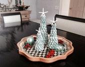 "Beach Christmas Seashell Trees with Natural Aqua Shells and Starfish - Choose 9"", 12"" or 15"""