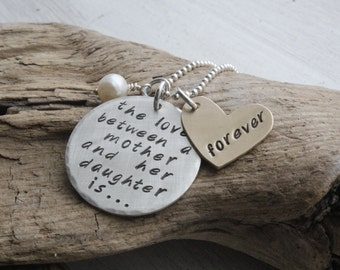 mother daughter necklace, personalized mother gift, gift for her, love between mother and daughter is forever, jewelry gift, sterling silver