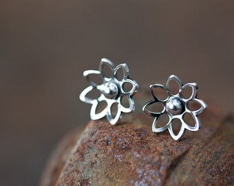10mm Sterling Silver Lotus Earrings, small silver flower earrings, tiny domed water lily blossom studs, mini stud earrings for woman