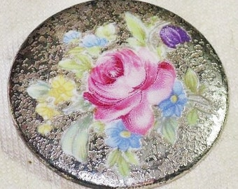 Antique Vintage Rosenthal Hand Painted Porcelain Rose Brooch Pin (B-3-4)