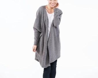 Wool cardigan | Sweater cardigan | Gray cardigan | LeMuse long sweater cardigan