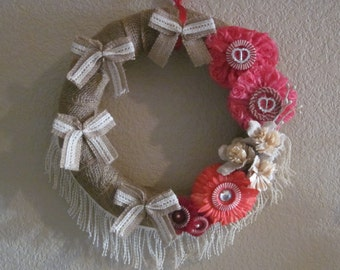 BURLAP and FLORAL WREATH Pink and Red