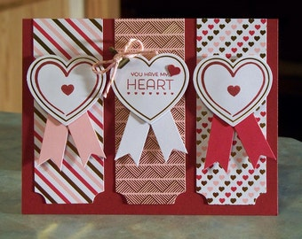 "Handmade Stampin' Up Valentine's Day Card - 5 1/2"" x 4 1/4"" - You Have My Heart - Filled with Love Paper Pumpkin"