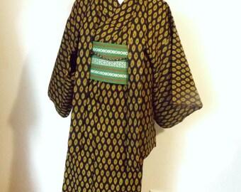 Vintage casual KIMONO HAORI ensemble wool black yellow dot 2 piece set size S ready to ship