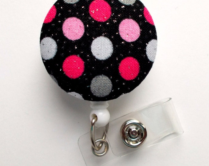 Black and Pink Polka Dot - Nurse Badge Holder - Valentine Badge Reel - Teacher Badge - Cute Badge Reel - Hospital Badge - Nursing Badge - RN