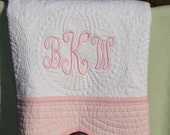 Embroidered Baby Quilt with Pink Trim -   Monogrammed Baby Blanket