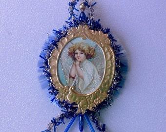 Vintage Look Girl Christmas Ornament Victorian-Vintage 1910 German Postcard ,German Dresdens,Vintage Tinsel,Spun Glass,Vtg Glass Beads