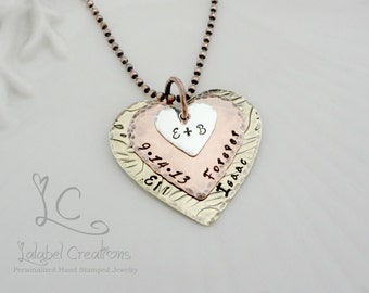 Hearts Personalized Necklace, Love Couples Hand Stamped Jewelry, Wedding Date, Couples Initials, Anniversary Gift, Together Forever