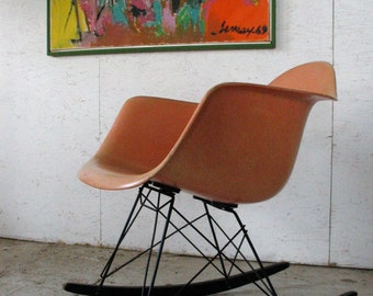 Herman Miller Eames Fiberglass Armshell Rocking Chair Venice California Label, Vintage Eames Chair Rocker