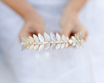 The Triple Silver Goddess Leaf Headband, Silver Laurel Leaf, Grecian, Bridal, Special Occasion