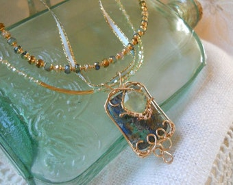 14k GF Ocean Hues Gemstone and Crystal Necklace