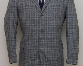 1940s boy's grey, blue, green plaid wool blazer/ 40s boy's plaid wool blazer/ Arbaugh's