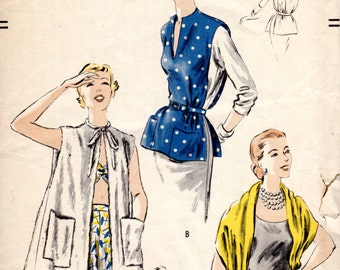 1950s Beach Coat Stole Poncho - Vintage Pattern Vogue 7311 - FF
