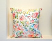 Reserved Listing~~Abstract Floral Pillow Cover, Designer Watercolor Fabric, Watercolor Flowers Home Decor, Various Sizes