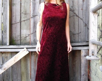 vintage 90's 1990's burnout velvet maxi dress marsala burgundy cranberry boho Ho;iday semi formal