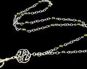 Women's Lanyard, Silver Lanyard, Pearl Lanyard, Necklace Lanyard, ID Badge Holder, Breakaway Lanyard with Silver Celtic Pendant and Pearls