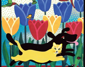 """Giclee Art Print 36"""" on canvas, Life is Better With a Friend , yellow cat and black dog ,  Copyright HILLARY VERMONT"""