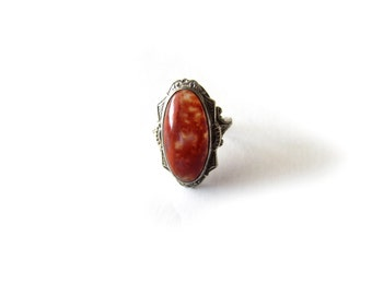 Antique Art Deco Agate Ring Sterling Silver Uncas c.1920s