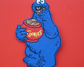 Iron-on Embroidered Patch Muppet Cookie Monster 4 inch