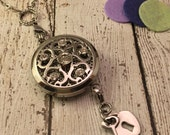 Essential Oil Locket - Aromatherapy Diffusing Necklace - Silver Locket - Swarovski Crystal Locket - Heart Lock and Key Charm Dangle