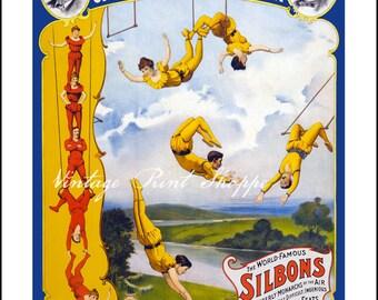Circus art reproduction print 5x7 print Home Decor print Circus Nursery Decor Kids Bedroom Decor Wall art Circus Vintage Poster
