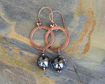 Midnight Blue Earrings, Hoop Earrings, Navy Blue Glass Earrings, Metal Earrings, Bohemian Earrings, Handmade Earrings, Fall Earrings