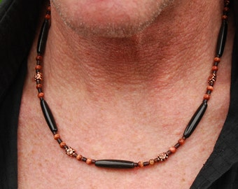 Pimp Daddy - 20 Inch Handcrafted Gemstone Necklace - Sea Shell, Red Goldstone, Copper & Horn - SGArtCA - Tribal Chic Jewelry