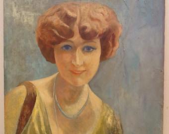 Vintage Oil Portrait ART DECO Avant Garde FLAPPER Woman Bobbed Hair c.1920s Painting