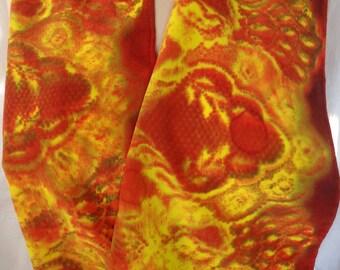 silk scarf hand painted Fiery Hot crepe unique long luxury women wearable art
