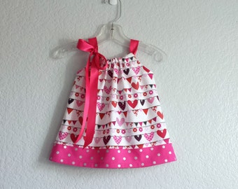 Baby Girls Pink Dress and Bloomers Outfit - Hearts in Pink Red and Black on White - Little Girls Sun Dress - Size Nb, 3m, 6m, 9m, 12m or 18m