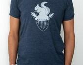 Squirrel T-Shirt  Navy Blue Tri-Blend Mens/Unisex