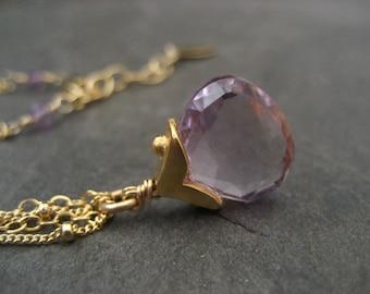 Pink amethyst, pendant, briolette necklace, amethyst pendant, lavender necklace, genuine stone, double chain, purple necklace, faceted stone